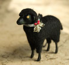 Little Black Lamb Ornament Putz Style Christmas by juliecollings Antique Christmas, Vintage Christmas Cards, Vintage Holiday, Handmade Christmas, Christmas Crafts, Baa Baa Black Sheep, Sheep And Lamb, Magical Christmas, Primitive Crafts