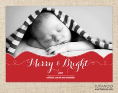 Christmas Holiday Photo Card with Ornate Design - Merry and Bright - Customized Printable by FLIPAWOO. $17.00, via Etsy.