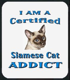 I Am A Certified Siamese Cat ADDICT  Mouse Pad - also Blue T-Shirts Available