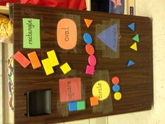 Preschool shape game - cut out shapes & tape or contact paper to fridge.  Use shape magnets to match to the shape or color.  Can be made more difficult by using upper or lower case letter magnets to match to letters taped to fridge or photos to match letter sounds (picture of an apple matched to a letter A magnet).