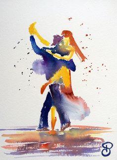 Aquarelle Tango #5 - 31x23 cm Pauline Art Gallery