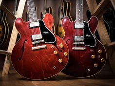 Gibson Memphis guitars in Viking Red with Brazilian wood fingerboards