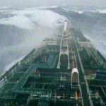 Giant force eleven storm and a 1000 foot long oil tanker