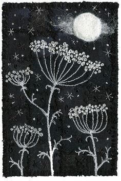 Moonlight Umbels 2 by Kirsten's Fabric Art