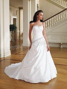 Shantung Softly Curved Neckline Pleated Bodice A-line Wedding Dress