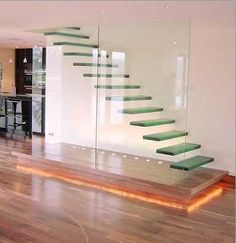 mounted on wall glass stairs