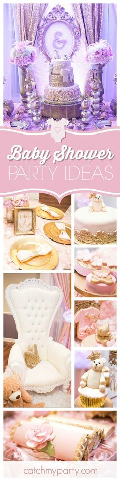 Take a look at this glamorous teddy bear princess baby shower. You'll love the dessert table!  See more party ideas and share yours at http://CatchMyParty.com