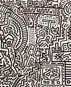 A detail from the Matrix, by Keith Haring, 1983. The entire piece is over30 foot long, material ink on paper.