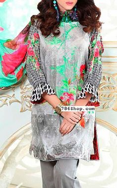 Grey Lawn Suit | Buy Charizma Eid Collection Pakistani Dresses and Clothing online in USA, UK