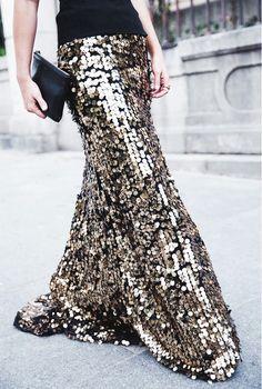 Sequin maxi skirt.