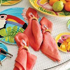 Beach or tropical tablescape - Kim Seybert Flamingo Napkin Rings, Set of Four
