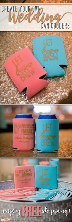 Create your own custom wedding can coolers as can coolers offer a unique, yet fun way to thank your guests! Select from over 1,000 design options, 45 product colors and 25 imprint colors. Use our state-of-the-art Design Ideas tool to uniquely showcase your name, wedding date or message on these re-usable can coolers! Use coupon code PINFREESHIP and receive FREE Ground Shipping in the Continental United States!