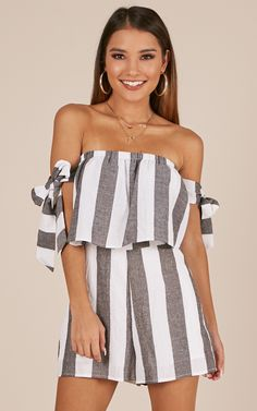 Showpo Sunshine And Good Vibes playsuit in black stripe linen look -