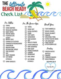 Ultimate Beach Packing List For the Whole Family – Cenzerely Yours - All your beach essentials in one post for the whole family. Print the ultimate beach packing list f - Packing List For Disney, Beach Vacation Packing List, Honeymoon Packing, Packing List For Vacation, Packing Tips, Vacation Deals, Travel Deals, Shopping Travel, Vacation Places