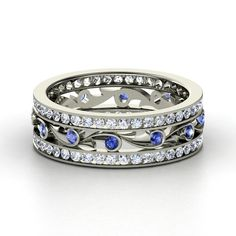 14K White Gold Ring with Sapphire & Diamond | Sea Spray Band | Gemvara