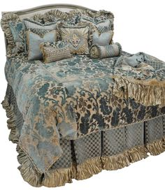 Paradise Luxury Bedding | Reilly-Chance Collection - Rich soft blue and cream chenille with silk, beading and Swarovski Crystals