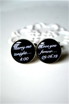 White Truffle Studio — Marry me tonight / love you forever custom date cufflinks style # 090