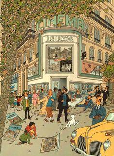 Tintin / Kuifje (illustration par -Artwork by/ Harry Edwood). Tintin all cast having an afternoon walk. Art And Illustration, Illustrations And Posters, Comic Kunst, Comic Art, Arte 8 Bits, Ligne Claire, Bd Comics, Alphonse Mucha, Illustrators