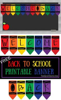 Free Printable Back to School Banner Crayons. Crayons for bulletin board decorations, crayon banner classroom decor or classroom door crayon theme. Crayon Themed Classroom, Classroom Door, Kindergarten Classroom, Classroom Themes, Classroom Organization, Preschool Classroom Decor, Holiday Classrooms, School Decorations, School Themes