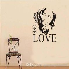bob marley one love music graphic quote art decal adesivo parede home decor dH