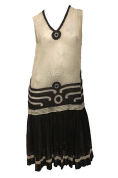 1920's Flapper Art Deco Dress Black and white with by parasail212, $800.00