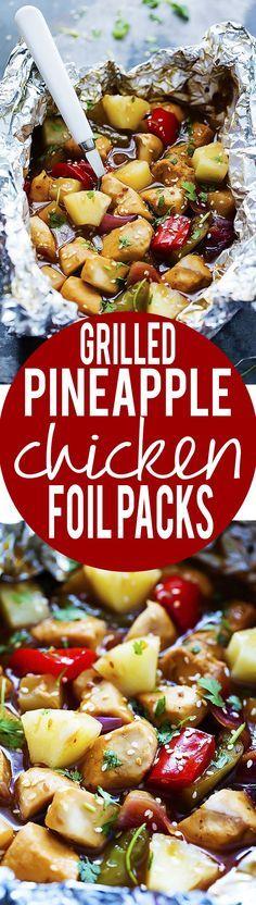 Grilled Pineapple Chicken Foil Packets   Creme de la Crumb