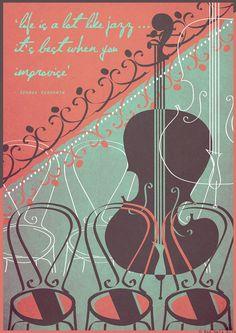 Original Design Art Deco Bauhaus A3 Poster Print Vintage 1930's Jazz Music George Gershwin Quote Vogue Cafe