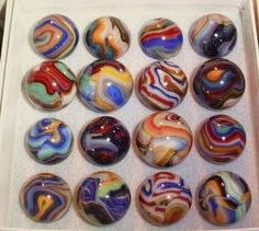 "Colorful, tightly patterned Jabo marbles from the ""Reno Gold Rush"" run."