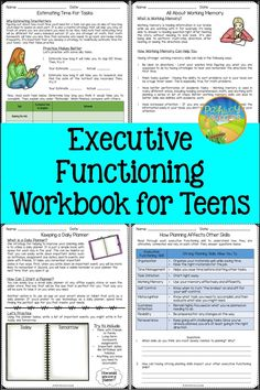 An executive functioning advanced workbook for teens. Use these lessons and activities for middle and high school students to teach about organization, self-control, time management, prioritizing, flexibility, perseverance, and more. This is no-prep for the teacher, so students can go at their own pace! Study Skills, Life Skills, Social Work, Social Skills, Adhd Strategies, What Is Work, Academic Success, Executive Functioning, Social Emotional Learning