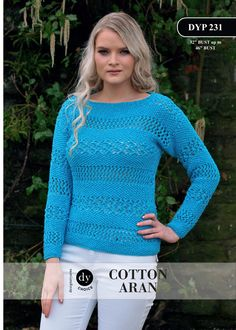 Moss Stitch and Lace Stitch Jumper in DY Choice Cotton Aran - DYP231 - Downloadable PDF. Discover more patterns by DY Choice at LoveKnitting. The world's largest range of knitting supplies - we stock patterns, yarn, needles and books from all of your favo
