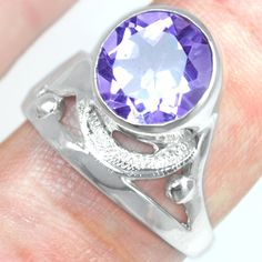 925 Sterling Silver Natural Purple Amethyst Ladies Ring Fashion Jewelry Sale $