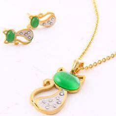 Cat Pave Pendant Necklace/Earrings Set