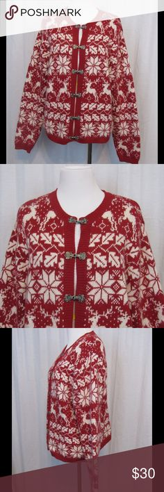 """Croft & Barrow Red White Reindeer Cardigan PL L Brand: Croft & Barrow Size: PL Color: Red/White Material: 55% Silk 30% Nylon 15% Angora Rabbit Hair  Care Instructions: hand wash  Bust: 42"""" Length: 22""""  All clothing is in excellent used condition. All clothes have been inspected and unless otherwise noted have no rips, holes or stains.   Cont: P14 croft & barrow Sweaters Cardigans"""