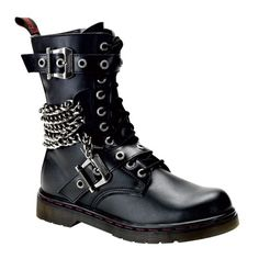 Buckle & Chain Gothic Combat Boots