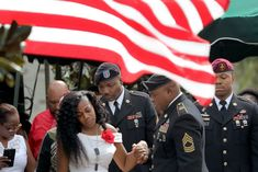 October, Hollywood FL: Myeshia Johnson, widow of Sgt. La David T. Johnson killed in Niger. Trump's condolence call left much to be desired Political Issues, American Soldiers, Condolences, Ny Times, Celebrity News, Presidents, Husband, Hollywood, Stripes