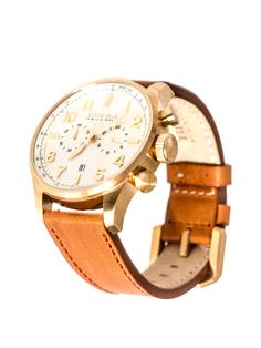 Brera Classic Yellow Gold & Leather watch