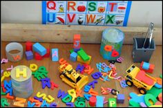 Alphabet Construction Site. Play-based early literacy activity for toddlers and preschoolers. My Nearest and Dearest blog.
