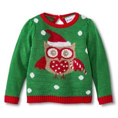 Infant Toddler Girls' Owl Ugly Christmas Sweater