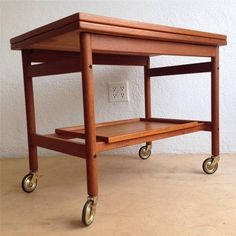 Danish Mid Century Modern Teak Drop Leaf Flip Top Bar Cart