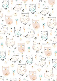 Illustration and surface pattern Vintage Flowers Wallpaper, Owl Wallpaper, Aesthetic Iphone Wallpaper, Flower Wallpaper, Pattern Wallpaper, Wallpaper Backgrounds, Nursery Patterns, Owl Patterns, Print Patterns