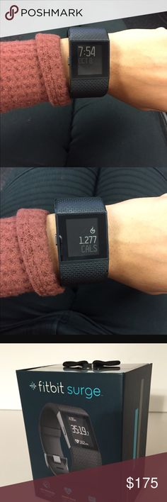 Fitbit Surge-small Fitbit surge size small watch with heart rate monitor-black. GPS tracking, all day activity, smart track + multi sport, long battery life, notifications, auto sleep alarm, wireless syncing. Comes with box and charger. One year old. Fitbit Accessories Watches