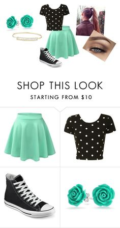"""""""Mint and Black"""" by phoridavies on Polyvore featuring Glamorous, Converse, Bling Jewelry and Anne Sisteron"""