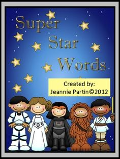 Super Star Words - Word Wall (Pre-K - is a Star Wars-themed game for literacy centers. Sight Word Practice, Sight Word Games, Kindergarten Reading, Teaching Reading, Learning, Kindergarten Worksheets, Classroom Freebies, Classroom Themes, Star Wars Classroom