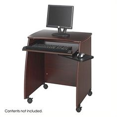 """Safco Products 1953MH Picco Duo Computer Workstation with Pullout Keyboard Tray, Mahogany. Picco computer workstation with pullout keyboard tray, tapered side panels and bow tie shaped top, privacy panel with openings for cable routing. Worksurface, 28 1/4""""W x 18 1/2""""D for monitor and CPU storage, upper keyboard compartment size 18 3/4""""W x 16 1/4""""D x 5 ⅞""""H. Pullout keyboard tray 23 3/8""""W x 15 1/2""""D with fabric covered foam wrist support holds 25 lbs., mouse tray 8 1/2""""W x 7 7/8""""D mounts…"""