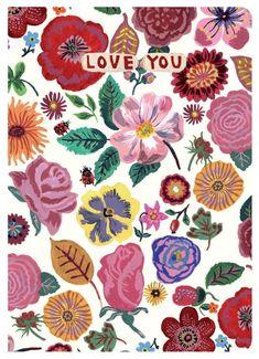 Postcard 'Love you' - illustrator Nathalie-lété. Seen on HappyMakersBlog.com