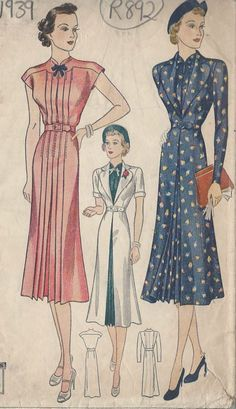 1939 Vintage Sewing Pattern B34 DRESS & REDINGOTE (R892) #Simplicity