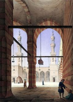 Complex of Sultan Faraj ibn Barquq , Cairo 1818 By Pascal Xavier Coste - French, 1787-1879 مجموعة السلطان فرج بن برقوق  للفنان الفرنسي باسكال زافير
