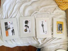 These are four small drawings by an Alfama artist that can go in the bedroom or the living room. Need frames.