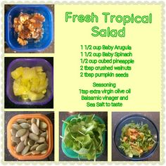 Easy Salad  Vegetarian Vegan The pineapple might surprise you :) 21 day fix approved 3 green containers for this recipe   Yucky to Yummy