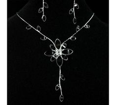 Black Flower Crystal Necklace & Earrings Set ~ Free shipping! No Copious Fees! $6.99